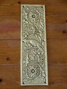 cast brass parrot finger door push plates fingerplate ebay. Black Bedroom Furniture Sets. Home Design Ideas