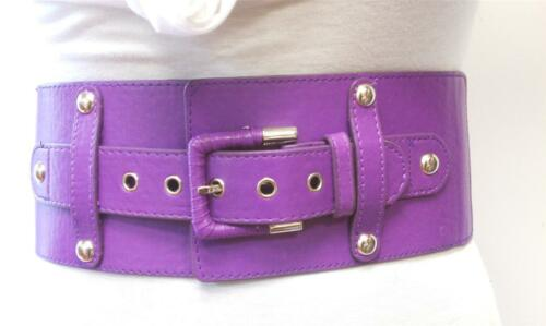 Fashion Woman Elastic Purple Buckle Design Belt High /& Low Waist S M L
