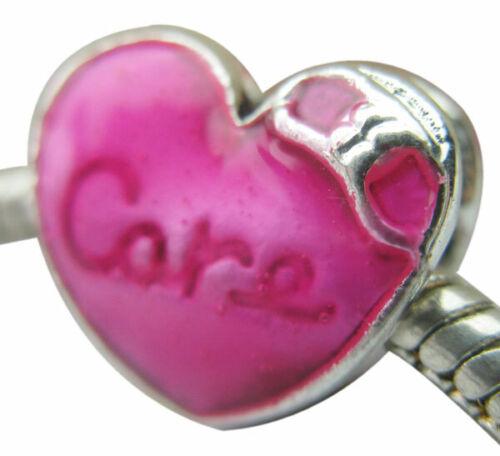 "An enamel /""care/"" deep pink alloy heart bead fit European snake charm chains"