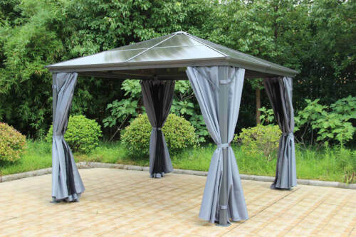 Runcton Gazebo Polycarbonate Super Strong 3m x 3m Nets /& Curtains Free Delivery