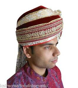 Image is loading Men-Turban-Indian-Handmade-Wedding-Sherwani-Pagri-Groom- c37590577c8