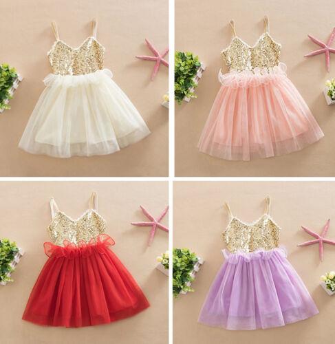 Girl Kids Baby Toddler Sequin Party Princess Slip Dress Wedding Tutu Clothes Top