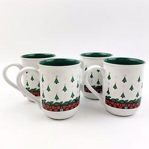 Vtg-MARY-ENGELBREIT-Set-Of-4-Christmas-Tree-Ceramic-Coffee-Mugs-Holiday-1992