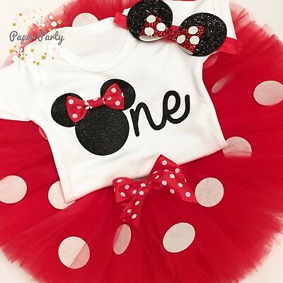 Outstanding Black Red Minnie Mouse Theme Cake Smash 1St Birthday Outfit Ebay Funny Birthday Cards Online Overcheapnameinfo
