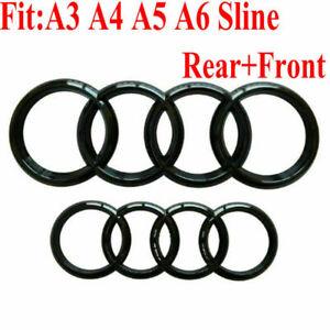 Set-delanteras-y-traseras-Rejilla-Insignia-Anillos-Logo-Emblema-Brillo-Negro-Para-Audi-A3-A4-A5-A6