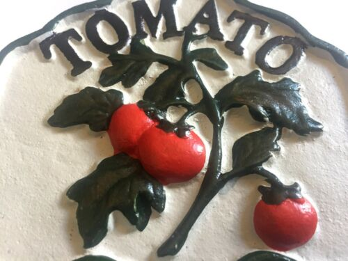 Tomato etc Hand-Painted Cast Iron Vegetable Plot//Patch Signs with Green Stakes