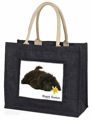 'Frohe Ostern' Pudel große schwarze Einkaufstasche