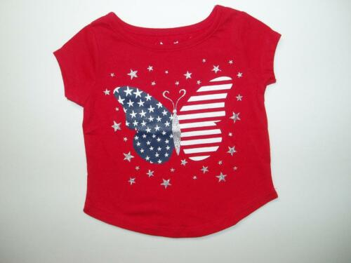 New 4th of July Girls Red Short Sleeve T-Shirt Butterfly Red//White//Blue 12M