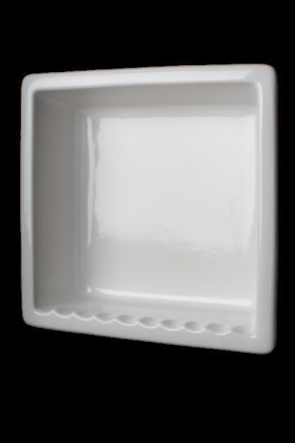 Shampoo Soap Shower Recessed Niche Ceramic Shelf Gloss White 1