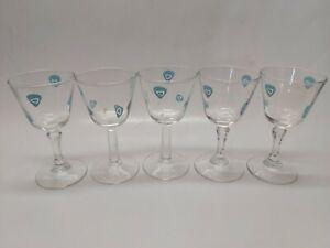 Vintage-Turquoise-Amoeba-Boomerang-Wine-Sherry-Glasses-Set-of-5