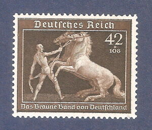 DR-Nazi-3rd-Reich-Rare-WW2-Stamp-1939-Hitler-039-s-Horse-Racing-Brown-Ribbon-Germany