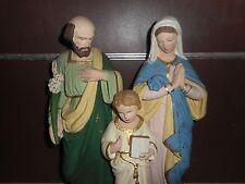 ANCIENNE STATUE RELIGIEUSE/ SAINTE FAMILLE / JESUS / PLATRE POLYCHROME /H.42 cm