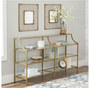 Slim Console Table Gold Metal Glass Display Shelves Living Room ...