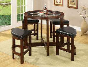 unique stylish 5 piece round glass counter height dining table stool