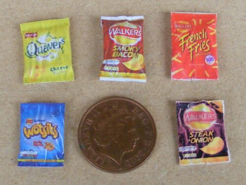 1:12 Scale 5 Empty Mixed Crisp Packets Tumdee Dolls House Miniature Pub Snack B