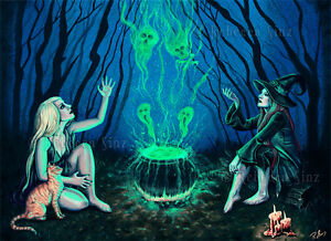 image is loading gothic fantasy witches cauldron art original painting halloween