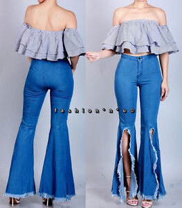 cheap sale 100% quality quarantee latest style of 2019 Details about Vintage Blue High Waist Flared Slit Bell Bottom Jeans Hippie  Denim Pants