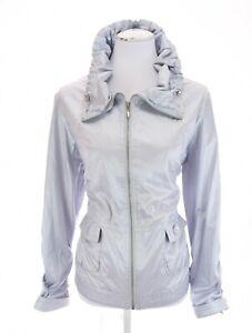 Chicos 2 Sz L Baby Blue Satin Windbreaker Jacket Full Zip Cinch Collar Women