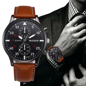 Mens Luxury Classic Quartz Watch Leather Band Analog Stainless Steel Wrist Watch