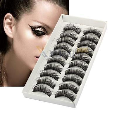 10 pairs Long Cross False Eyelashes Makeup Natural Fake Thick Black Eye Lashes