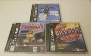 3-Playstation-1-Games-Formula-1-Super-Cross-98-amp-High-Heat-Baseball-2000-CIB