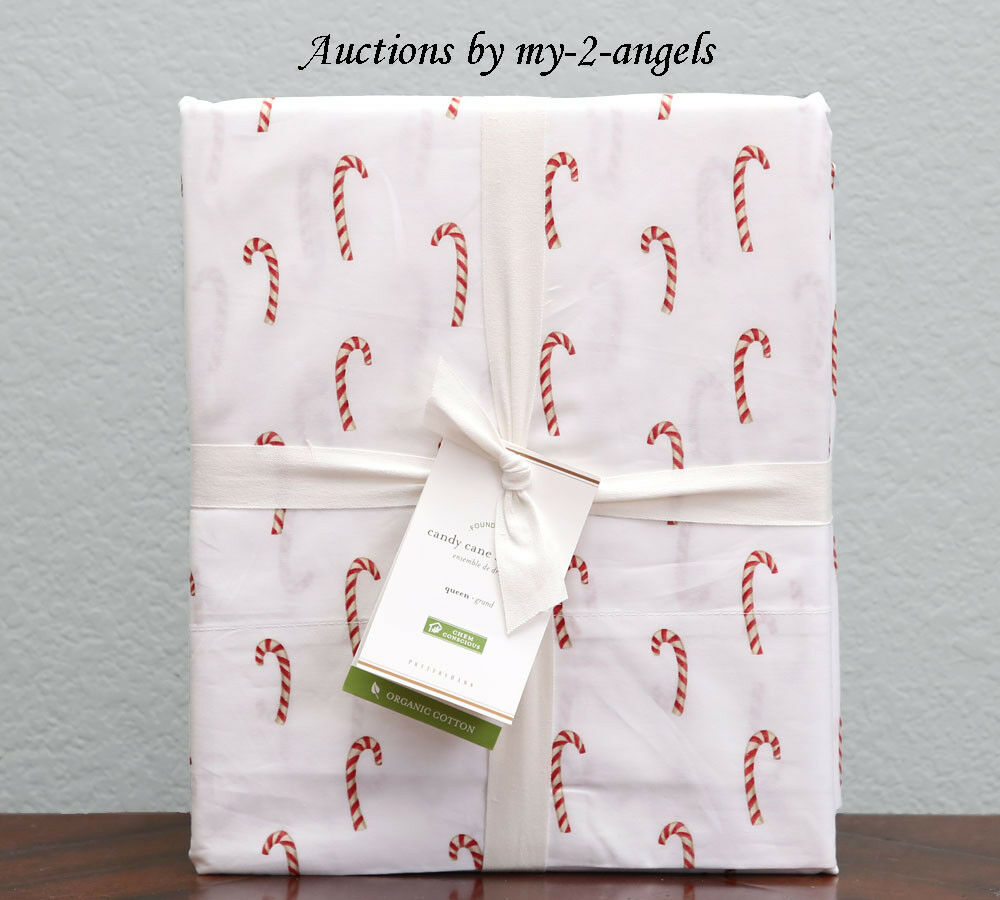 NEW Pottery Barn CANDY CANE Organic Cotton Percale Queen Sheet Set Christmas rot