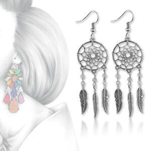 Women-Vintage-Jewelry-Dangling-Feather-Dream-Catcher-Pendant-Fashion-Earrings-GA