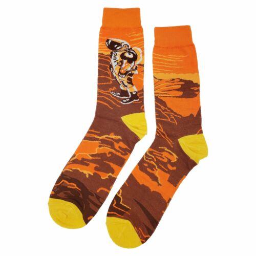 NWT Planet Mars  Dress Socks Novelty Men 8-12 Orange Fun Sockfly