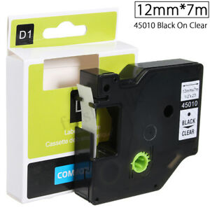 12mmx7m-Plastic-Label-Tape-Compatible-For-Dymo-D1-LetraTag-45010-Black-On