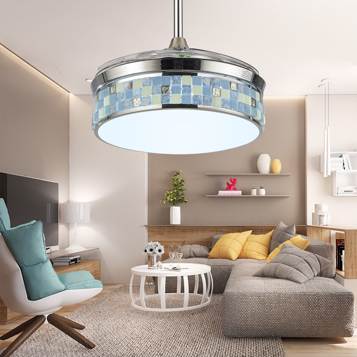 42 Modern Ceiling Fan Light Led Dimmable Retractable Blade Lamp 3 Speed Remote For Sale