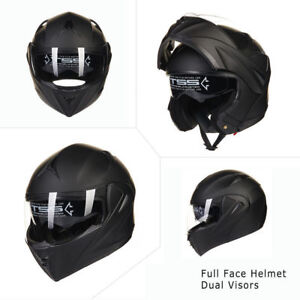 Black-Full-Open-Face-Modular-Flip-Up-Dual-Visor-Motorcycle-Street-Helmet