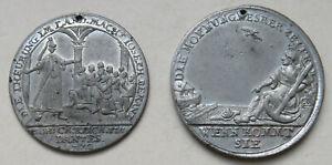 Fuerth-Zinnmedaille-1772-und-1773-von-J-C-Reich-auf-Hungersnot-und-die-Teuerung