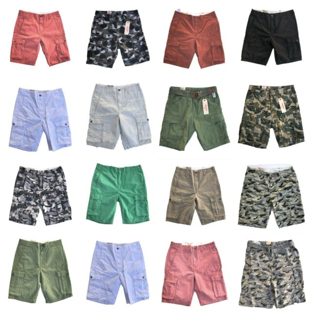 914ced68d9 NEW MENS LEVIS RELAXED FIT ACE CARGO SHORTS ZIPPER FLY CAMO BLACK BLUE GRAY  RED