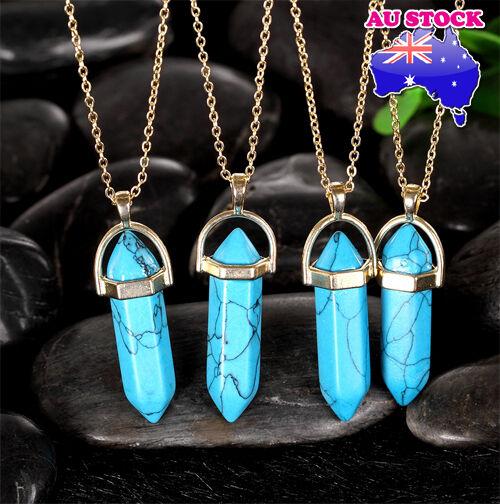 Beautiful Natural Blue Topas Healing Point Chakra Cut Gemstone Pendant Necklace