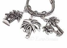 3pc Lot_PALM TREE_Beads for Silver European / Expandable Wire Charm Bracelet_S67