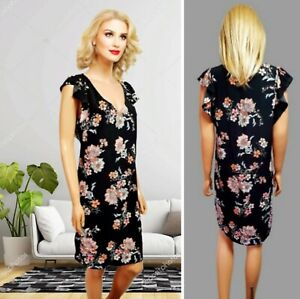 NEW LOOK DRESS SIZE 12 SHIFT BLACK OVER KNEE FLORAL PRINT CAP SLEEVE#22