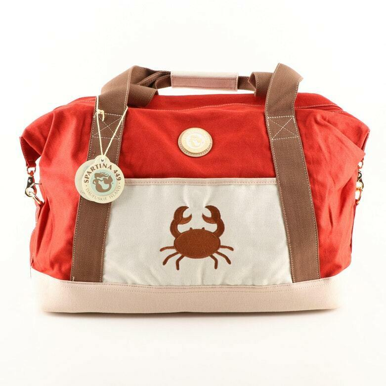 Spartina Cargo Canvas Duffel Duffle RED Cinnamon CRAB Gold TURTLE NEW! FREE Ship