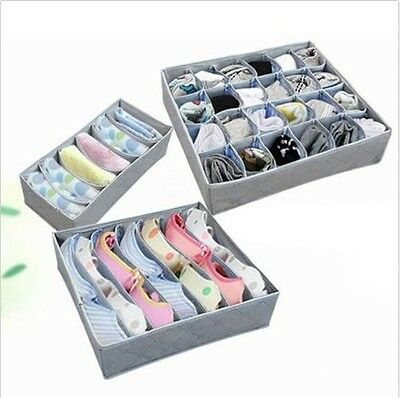 3Pcs Underwear Bra Socks Ties Divider Closet Container Storage Box Organizer OE