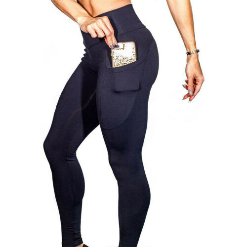 Damen mit Tasche Stretch Hose Legging Fitness Jogging Running Sport Yoga Leggins