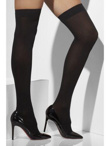 Adulto Hold Up sopra il ginocchio Calze Nero Costume Donna OS