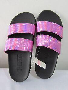 e279ac385e5 Image is loading MEDIUM-Victoria-Secret-Pink-DOUBLE-STRAP-SLIDES-BEACH-