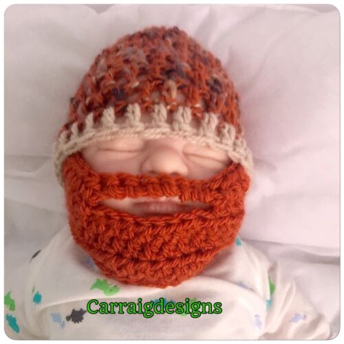 HANDMADE Orange ginger Baby boy Beard hat Bearded photo prop beanie father cap