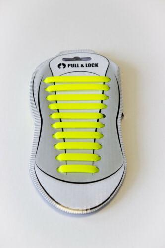 Elastische Silikon Schnürsenkel No TieShoelaces Pull n Lock NEU SPEZIALDEAL GELB
