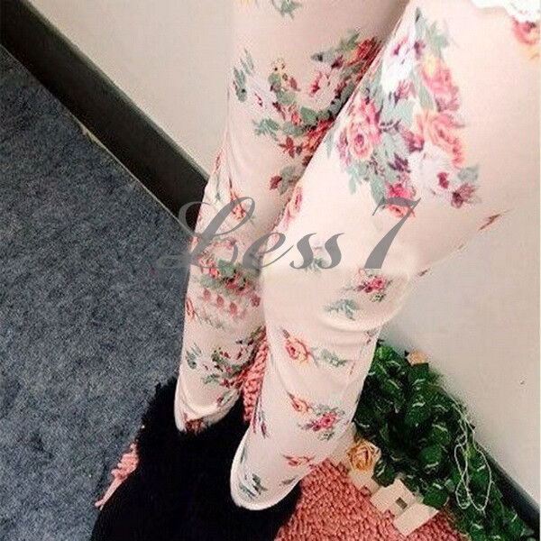 NEW Elegant Women Lady chic Rose Floral Print Slim Tights Pants