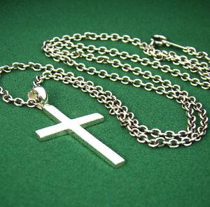 P315sc mens sterling silver 925 simple cross pendant chain image is loading p315sc mens sterling silver 925 simple cross pendant mozeypictures Gallery