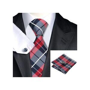 JSS-Mens-Formal-100-Silk-Tartan-Check-Wedding-Pocket-Square-Cufflink-Tie-Set