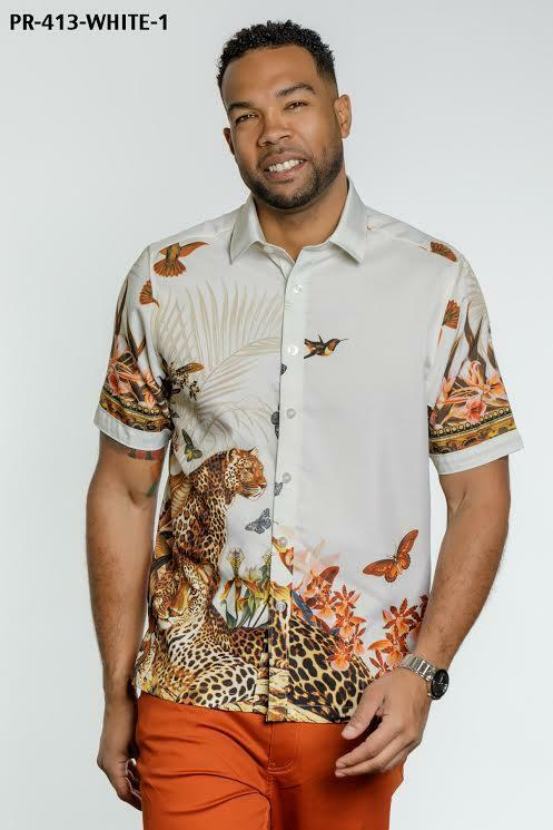 New Men's Royal Prestige Casual Button Down Printed Cream Short Sleeves Shirt