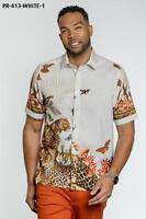 Men's Royal Prestige Casual Button Down Printed Cream Short Sleeves Shirt