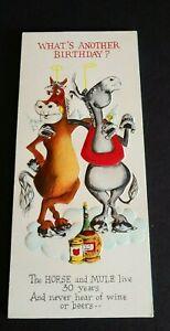 Vintage Hallmark Greeting Card Slim Jims Happy Birthday Horse Donkey 25B122-3