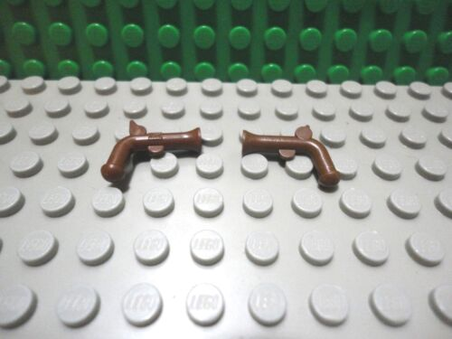 Lego mini figure 2 Brown flintlock pistol gun town city weapon